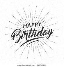 text birthday card monochrome text happy birthday greeting card stock vector