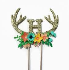 antler cake topper floral antlers deer it s a girl cake topper by emtsweeetie