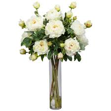 Peony Floral Arrangement by 32 In H White Peony With Cylinder Silk Flower Arrangement 1230 Wh