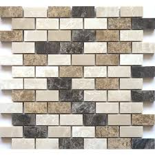 faber 12 in x 14 in blend mosaic polished brown natural stone wall