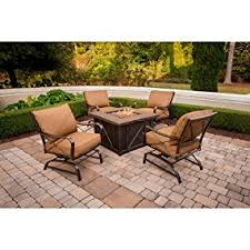 Gp Products Patio Furniture Amazon Com Hanover Summer Night 5 Piece Gas Fire Pit Set