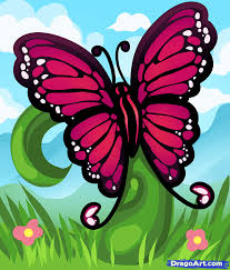 how to draw a spring butterfly step by step bugs animals free