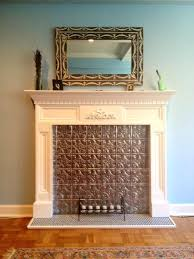 Fireplace Electric Insert False Fireplace Inserts My Finished Fireplace With Tin Tile Faux