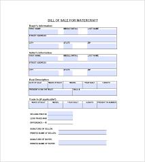 watercraft bill of sale u2013 8 free word excel pdf format download