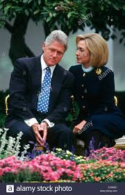 Hillary Clintons House Us President Bill Clinton Listens To First Lady Hillary Clinton