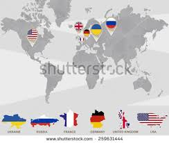 map usa russia world map ukraine russia germany stock vector 259631444