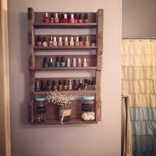 wooden pallet project nail polish shelves shed organization