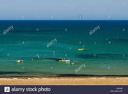 Blue Flag Beach Tourists Kayaking Cyprus Blue Flag Beach Faros Beach Stock Photo