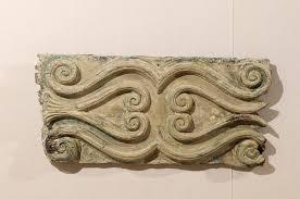 italian wood carved decorative wall plaque volute motifs blue