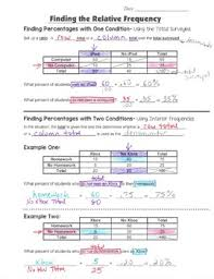 two way frequency table worksheet answers 8 guided interactive math notebook pages two way tables relative