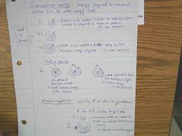 notebooks and worksheets from class first semester chemistry