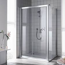 kermi atea two part sliding door with fixed panel tsg transparent