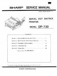 sharp serial dot matrix printer dp 730 parts u0026 service printer