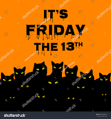 halloween background friday the 13 halloween card friday 13 black cats stock vector 308906957