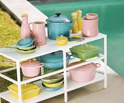 pink retro kitchen collection le creuset s midcentury inspired oasis collection including the