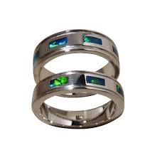 opal wedding ring opal bands for two sterling silver flashopal