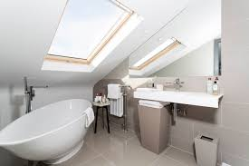 loft conversion bathroom ideas grey tiled loft conversion bathroom with beautiful free standing