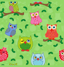 seamless pattern with ornamental owls blue vector image