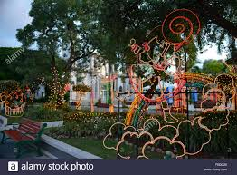 christmas light decoration at the plaza of juana diaz puerto rico
