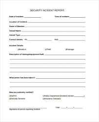theft report form template incident report form exle