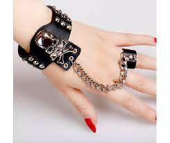 skull gothic rings images Gothic skull black white faux leather bracelet with ring 95126 jpg