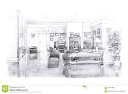 freehand sketch of a drawing room stock illustration image 57535686