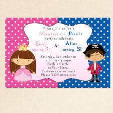 Invitation Card For Reunion Party Princess Birthday Invitation Pirate Boy Siblings Twins