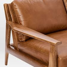 Leather And Wood Chair Mathias Mid Century Wood Frame Leather Sofa 82 5
