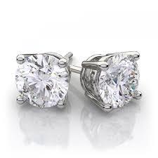 white gold earrings studs ct t w diamond solitaire stud earrings in 14k white gold