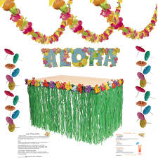 luau party supplies kit lei garland 100 ft grass table skirt