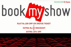 bookmyshow offer bookmyshow loot offer flat rs 100 off on movie ticket extra 15