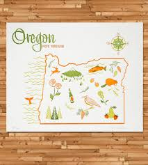 Sweet Home Oregon Map by Vintage Inspired Oregon Map Print Vintage Inspired Sweet Home