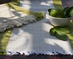 Table Place Mats Madur Kathi Natural Fibre Lemon Green Placemats Table Runner
