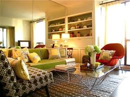 yellow living room with closet has two bright lamps for interior