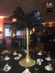 black and gold centerpieces sierras great gatsby sweet 16 black gold feather centerpieces june