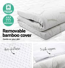 cool gel memory foam mattress topper bamboo fabric cover double