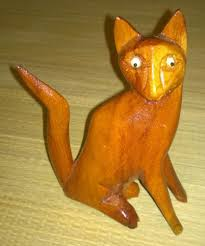 wooden cat local carved wooden cat statue tesoro