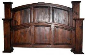 King Size Wooden Headboard Rustic Western Mansion Size Bed Kitchen