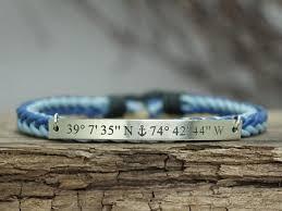 anchor braided bracelet images Custom coordinates bracelet for women blue cord braided bracelet jpg