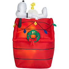 brown christmas snoopy dog house snoopy s decorated doghouse 4 airblown yard home figure