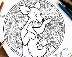 pooh coloring pages etsy