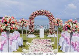 wedding setup setup wedding flowers stock photo 524995744