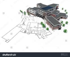 Architectural Plan Architectural Plan Mockup 3d Render Stock Illustration 27913702