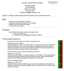 Resume Examples For Daycare Worker by Daycare Teacher Resume 19 Preschool Teacher Resume Objective