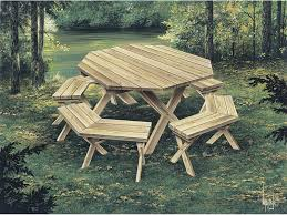 How To Build A Round Wooden Picnic Table by Picnic Tables Woodworking Plan 002d 0003 House Plans And More