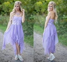 lavender chiffon short country bridesmaid dresses 2016 hi lo lace
