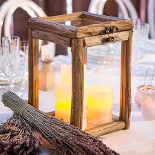rustic wood and glass box wedding centerpiece
