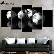 hd printed 5 piece canvas art soccer painting football wall