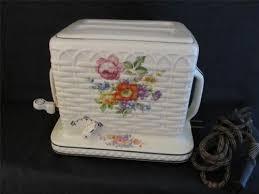 Fiesta Toaster Porcelier Toaster Basketweave Wild Flowers Electric Ceramic Works