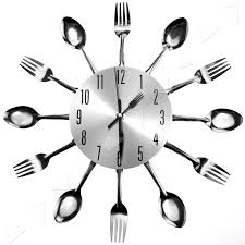modern design silver black cutlery kitchen wall clock decor spoon
